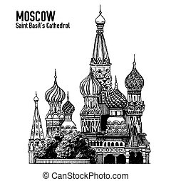 Moscow city colorful emblem with St. Basil's Cathedral, Vacation in Russia. Blackboard, chalkboard drawing. Isolated on white.