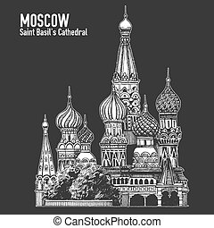 Moscow city colorful emblem with St. Basil's Cathedral, Vacation in Russia. Blackboard, chalkboard drawing.