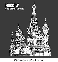Moscow city colorful emblem with St. Basil's Cathedral, Vacation in Russia. Blackboard, chalkboard drawing. Blackboard, chalkboard drawing.