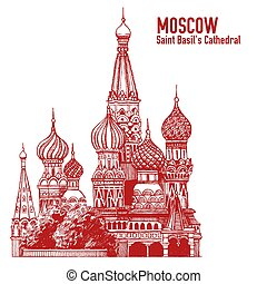 Moscow city colorful emblem with St. Basil's Cathedral, Vacation in Russia. Illustration isolated on white background.
