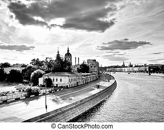 Moscow city evening view from the bridge