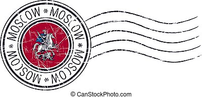 Moscow city grunge postal rubber stamp