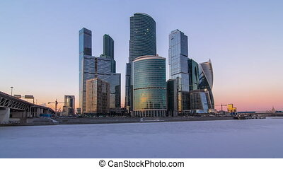 Moscow City in winter day to night timelapse.