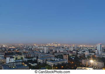 Moscow city landscape panorama at red sunrise