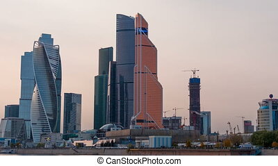 Moscow city Moscow International Business Center , Russia Timelapse.