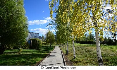 Moscow city park in autumn