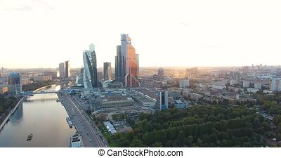 Moscow-city, Russia. Moscow International Business Center. at sunset panorama