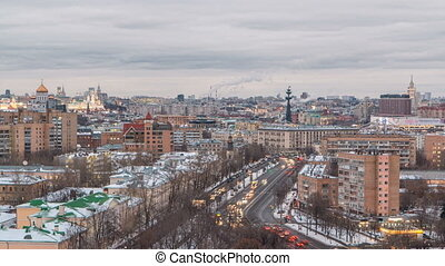 Moscow city Russia skyline aerial panoramic top view day to night timelapse urban winter snow scenery architecture background