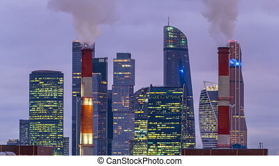 Moscow City skyscrapers in winter day to night timelapse. -...