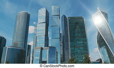 Moscow City skyscrapers timelapse. Office business center of moscow city. Towers of Moscow City.