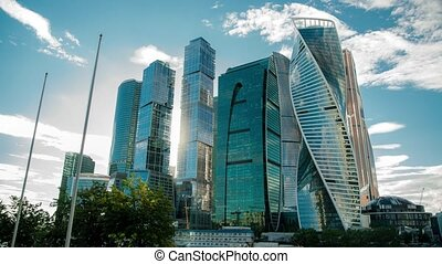 Moscow city timelapse on a windy day - Time lapse of Moscow...