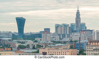 Moscow cityscape and skyscraper with spire, residential buildings timelapse