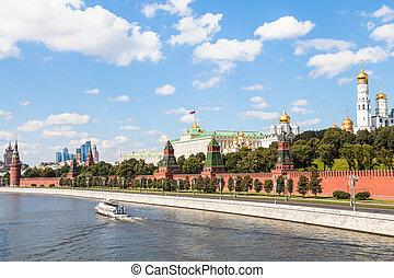 Moscow Kremlin and embankment along Moskva River