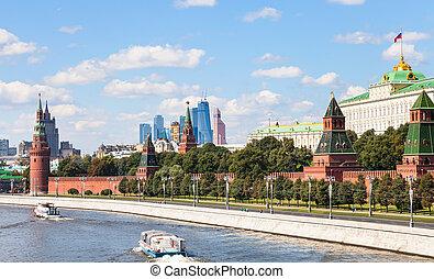 Moskva River, embankment, Kremlin, Moscow City