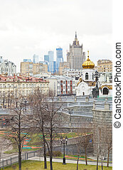 Moscow cityscape with church, city and skyscraper