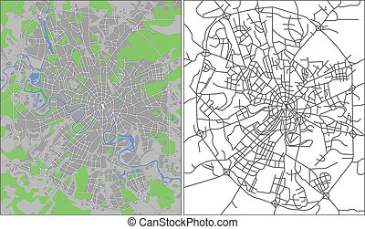Moscow - Illustration city map of Moscow in vector.