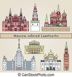 Moscow colored Landmarks