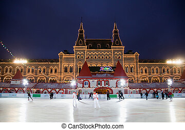 MOSCOW - DECEMBER 5: The skating rink has opened on Red ...