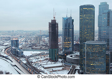 "MOSCOW - FEBRUARY 1: Moscow international business centre ""Moscow-city"" - under construction business area on Presnensky quay February 1, 2010 in Moscow, Russia."