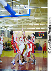 MOSCOW - FEBRUARY 12: Scramble under the basket in the basketbal