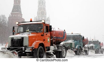 MOSCOW - FEBRUARY 2: Municipal units with plows remove snowfall near Kremlin, February 2, 2010 in Moscow, Russia. February 2010 was unique in terms of meteorological conditions.