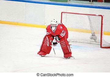 "MOSCOW FEBRUARY 20: Goalkeeper on hockey match ""Spartak""-""Severstal"" on ice fild in sports palace ""Sokolniki"" februari 20, 2010 in Moscow, Russia"