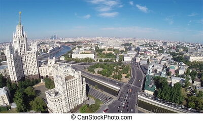 Moscow - Elevated aerial camera view of the center of Moscow...
