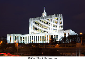 Moscow, government house of the Russian Federation at night