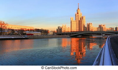 Moscow, high-rise building on Konelnicheskaya Embankment on a sunset in the winter