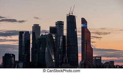 Moscow international busines city. Sunset time lapse.