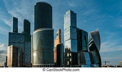 Moscow International Business Center so-called Moscow-City skyscrapers, consist of business, residential and lifestyle clusters. Time lapse.