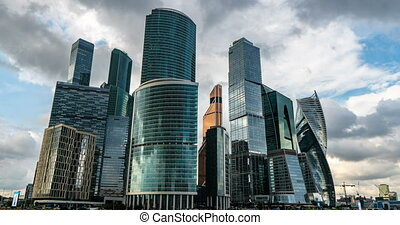 Moscow International Business Center so-called Moscow-City skyscrapers, consist of business, residential and lifestyle clusters, on July 25, 2019 in Moscow, Russia, time lapse cloud, video loop