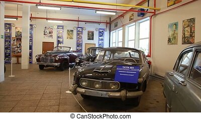 Retro cars in museum of film studio MOSFILM