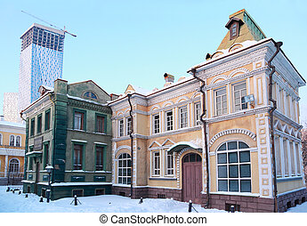 MOSCOW - JANUARY 19: Playground with decorations nineteenth century Russian town on January 19, 2010 in Moscow, Russia. In museum of Mosfilm Cinema Concern collected property from movies