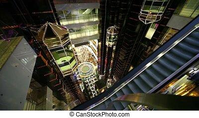 Cloth escalator and few elevators on multiple floors trade center European