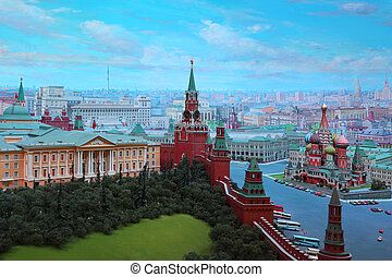 "MOSCOW - JANUARY 7: Kremlin in diorama ""Moscow - capital of ..."