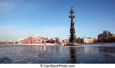 Monument to Peter Great on Moskva river and factory