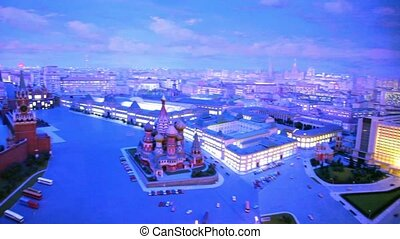 Night diorama Moscow - capital of USSR by Yefim Deshalyt for National Exhibition 1977 in America