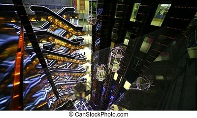 Several escalators and elevators on multiple floors trade center European