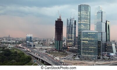 Moscow International Business Center (Moscow-City) at evening