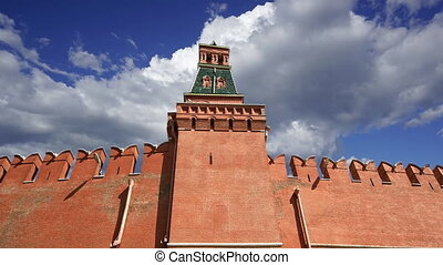 Moscow Kremlin against the moving clouds, Russia. UNESCO World Heritage Site