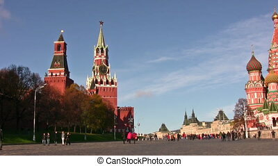 Moscow kremlin and church panning