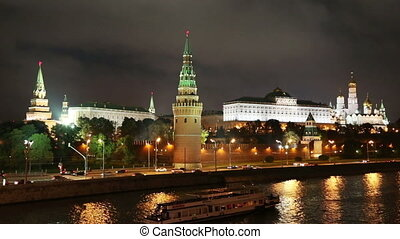 Moscow Kremlin and river at night - Russia