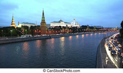 Moscow Kremlin and ships on river - from day to night timelapse