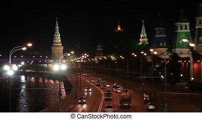 Moscow Kremlin at night. Bokeh lights.