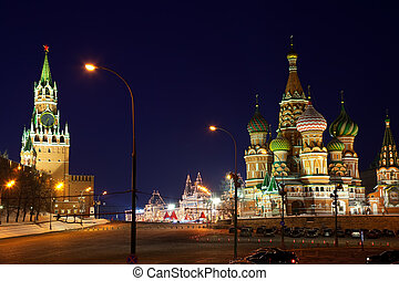 Moscow Kremlin at Red Square in night