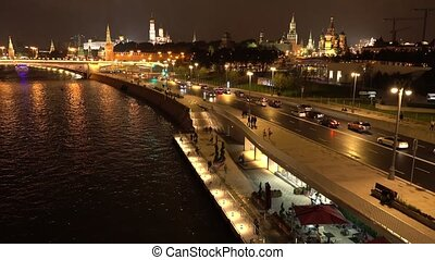 Moscow Kremlin embankment in the summer evening, Russia