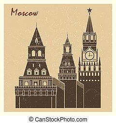 Moscow Kremlin grunge postcard design - Vintage Moscow city...