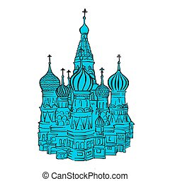 Moscow Kremlin illustration with colored backplate. Hand...