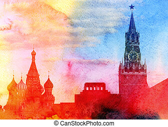Moscow Kremlin, Lenin mausoleum and St Basils Cathedral ...